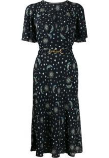 Alberta Ferretti Vestido Com Estampa De Estrelas - Azul