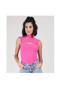 Regata Feminina Canelada Com Recorte Gola Alta Pink