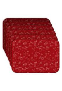 Jogo Americano Love Decor Wevans Elementos Natalinos Vermelhos Kit Com 6 Pçs.