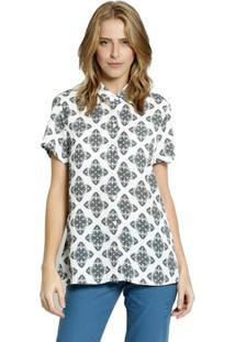 Camisa Manga Curta Moché Feminina - Feminino-Off White+Preto