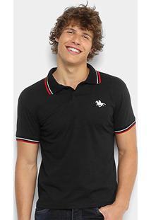 Camisa Polo Rg 518 Malha Friso Logo Masculina - Masculino-Preto