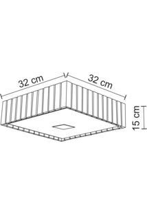 Plafon De Sobrepor Quadrado Para 2 Lâmpadas 32Cm Castor Madelustre Imbuia