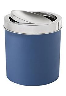 Lixeira Com Tampa Basculante Inox 5,4 Litros - Decorline Lixeiras Ø 18,5 X 23 Cm Azul