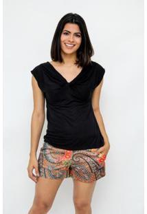 Blusa Clara Arruda Decote Nó Feminina - Feminino-Preto