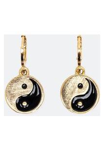 Brinco Pequeno Argolinha Com Pingente De Yin Yang | Accessories | Dourado | U