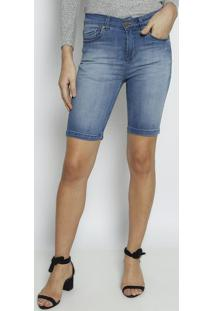 Bermuda Jeans Estonada Com Tag- Azul Claro- Leelee