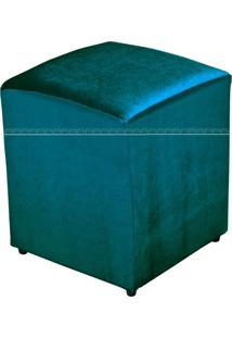 Puff Quadrado Decorativo Tecido 546 Lyam Decor Turquesa Brilho