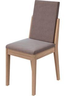 Cadeira Lira Velvet Rosê Carvalho Naturale