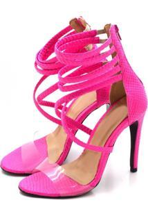 Sandália Salto Alto Flor Da Pele 1746 Pink