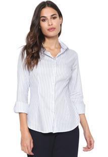 Camisa Dudalina Listrada Branca/Azul
