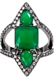Anel Prin The Ring Boutique Pedras Cristais Verde Esmeralda Ródio Negro