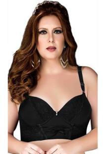 Sutiã Plus Size Com Renda Corpete Nayane Rodrigues - Feminino-Preto