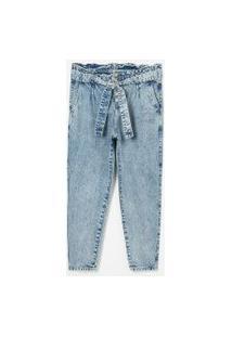 Calça Mom Jeans Cós Clochard Com Cinto Faixa Curve & Plus Size   Ashua Curve E Plus Size   Azul   52