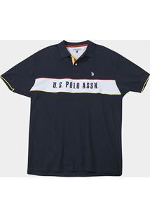 Camisa Polo U.S.Polo Assn Recorte Manga Curta Masculina - Masculino-Marinho