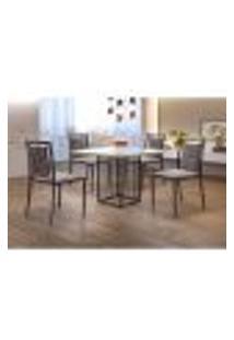 Conjunto De Mesa De Jantar Hera Com Tampo De Vidro Siena E 4 Cadeiras Grécia Ii Linho Bege E Preto