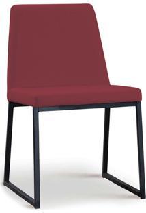 Cadeira Yanka Aco Preto Linho Marsala Daf