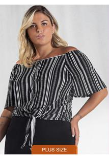 Blusa Plus Size Crepe Feminina Secret Glam Preto