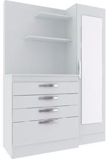 Cômoda 1 Porta Com Espelho 4 Gavetas Branco Tx - Hecol
