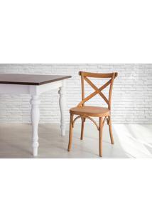 Cadeira X De Madeira Torneada Com Encosto E Assento Anatômico Jatobá Madeleine - 50X54,5X86 Cm