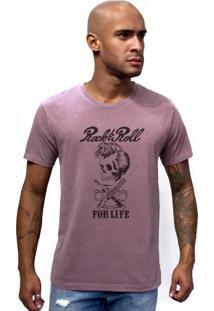 Camiseta Joss Estonada Caveira Rock Roll For Life Roxo