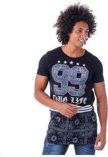 Camiseta Alongada Masculina Rufus - Preto