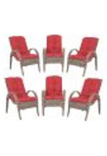 Cadeiras 6Un P/ Jardim Lazer Edicula Varanda Descanso Fibra E Tramas Napoli Plus Argila A16