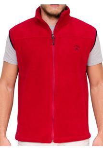 Colete Kevingston Isidro Cereja Vermelho Fleece Soft Com Bolsos