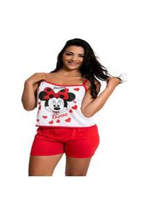 Short Doll Malha Gafield Baby Doll Feminino Estampado Pijama Calor Personagem Atacado