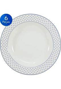 Conjunto Pratos Fundos Maitê 6 Peças - Schmidt - Branco / Azul