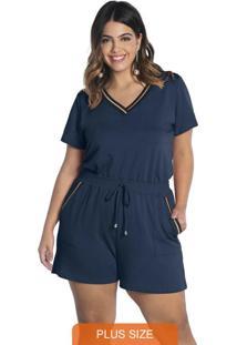 Conjunto Blusa Decote V E Shorts Moli Comfy Azul