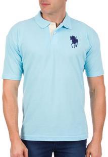 Camisa Polo Masculina Azul Com Bordado - P