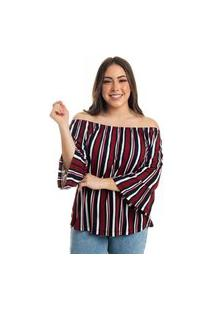 Blusa Ciganinha Listrado 1014291A42 Marinho - Paxá