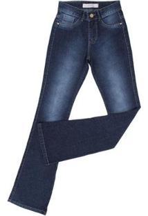Calça Jeans Flare King Farm Feminina - Feminino-Azul