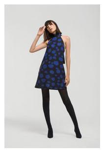 Vestido Curto Cava Francesa Detalhe Gola Azul Pp