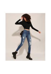 Calça Super Skinny Jeans Lipo Push Up Destroyed Cintura Super Alta Sawary Azul Médio