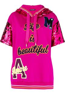 Dolce & Gabbana Blusa Com Patch 'Life Is Beautiful' - Rosa