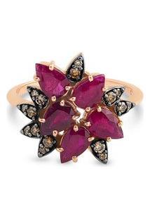 Anel Ouro Rosé Diamante Brown E Rubi