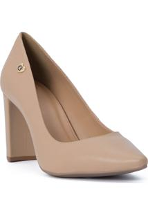 Scarpin Nude Block Heel Cs Club Natural