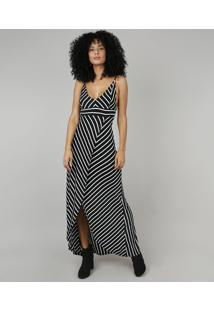 30716c7c7 CEA. Vestido Feminino Longo Listrado Transpassado Alça Fina Preto