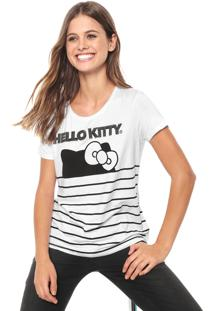 Blusa Cativa Hello Kitty Aplicações Branca/Preta