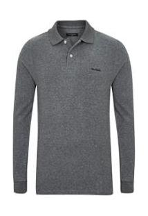 Camisa Polo Manga Longa Flannel Masculina - Masculino-Preto