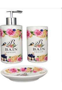 Kit Para Banheiro Em Porcelana Branco Escova Saboneteira Liquido Bain Design Amigold - Kanui