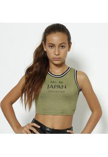 "Blusa Cropped ""Japan"" - Verde Militar & Preta - Colccolcci"