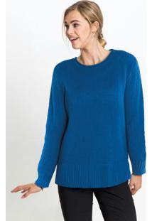 Suéter De Tricô Decote Canoa Azul Royal