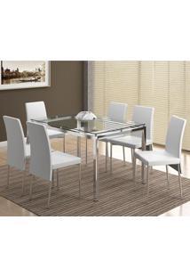 Conjunto Mesa 346 Com Vidro Incolor Cromada Com 6 Cadeiras 306 Cromada/Branca Carraro