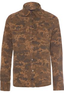 Camisa Masculina Paper Touch Geome Camo Print Overshirt - Marrom