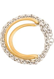 Charlotte Chesnais Pulseira 'Initial' Em Prata E Ouro - Dourado