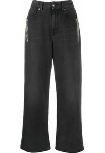 Christopher Kane Calça Jeans Pantalona Com Franjas E Cristais - Preto