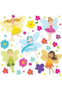 Adesivo De Parede Quartinhos Fadas E Flores Colorido