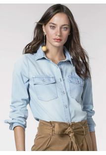 Camisa Jeans Em Tecido De Algodão